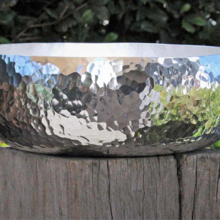 Large Curved Salad Bowl by Don Sheil in Hand-Raised Pattern