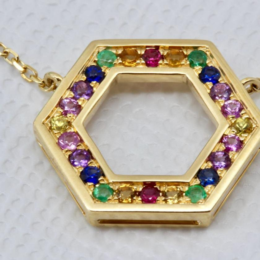 14ct Yellow Gold Multi Gem Necklet