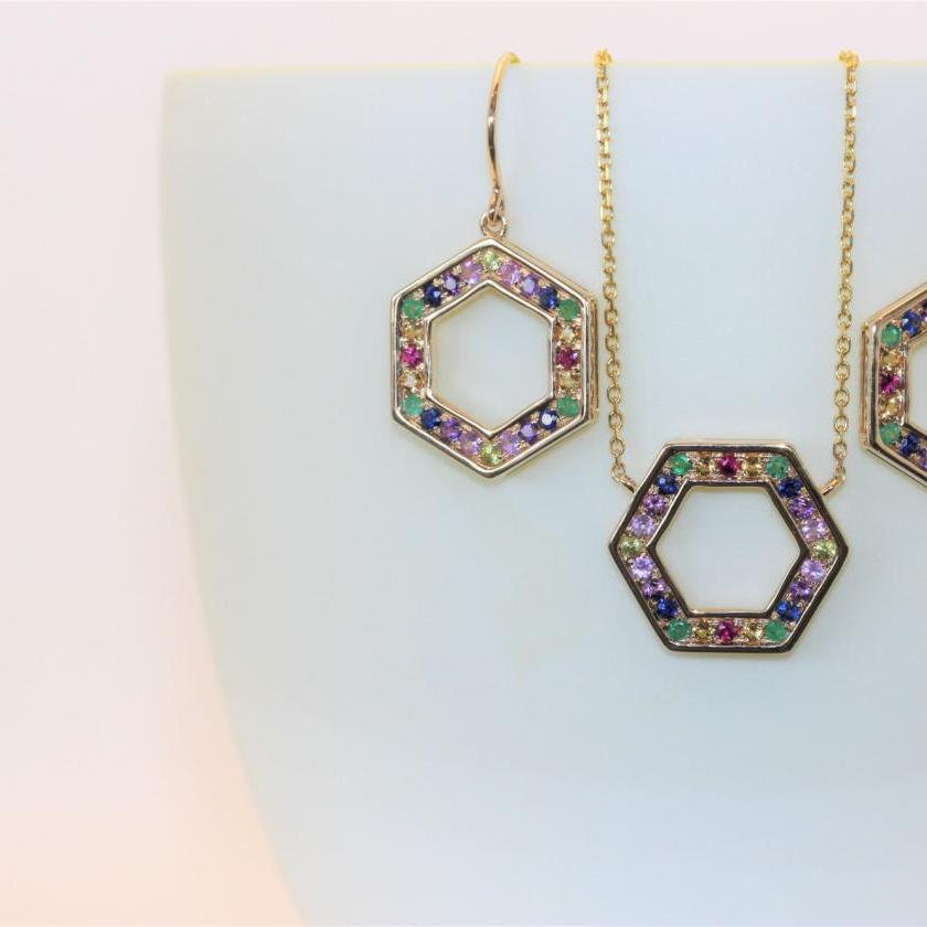 14ct Yellow Gold Multi Gem Drop Earrings