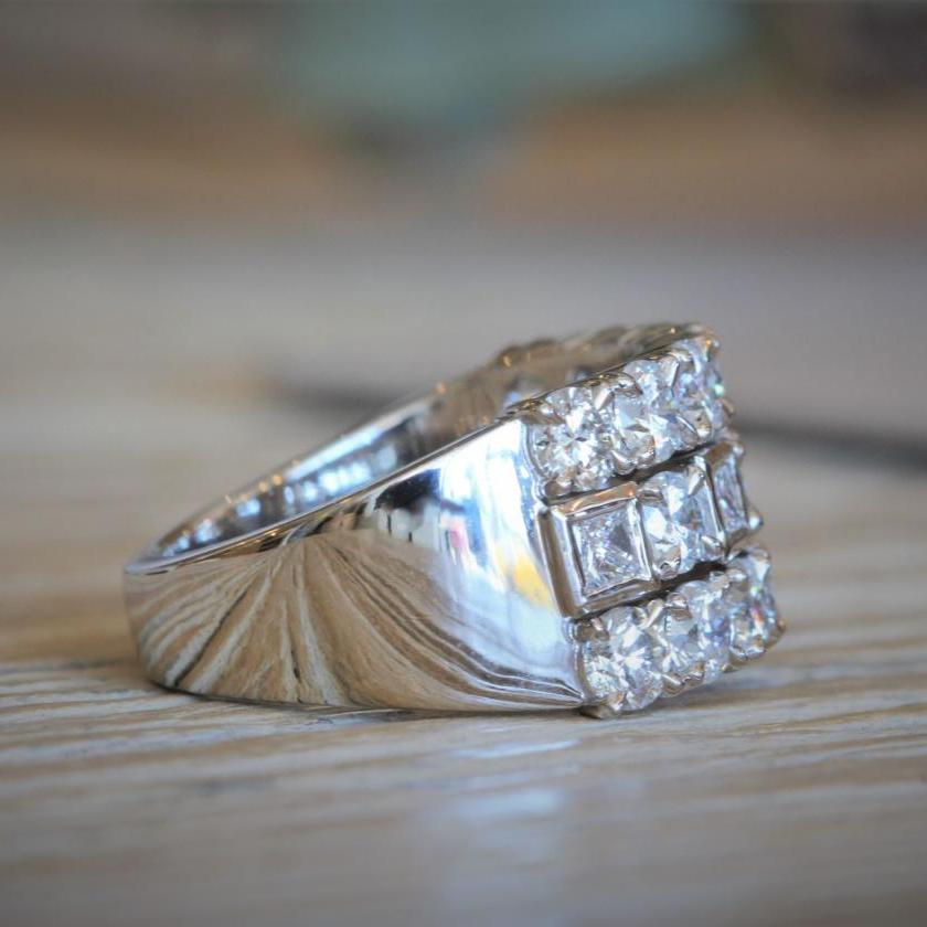 18ct White Gold 3 Row Diamond Ring