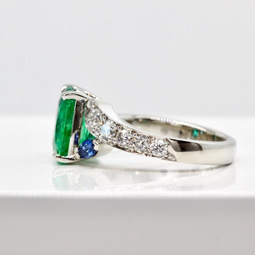 Platinum Emerald, Sapphire and Diamond Ring