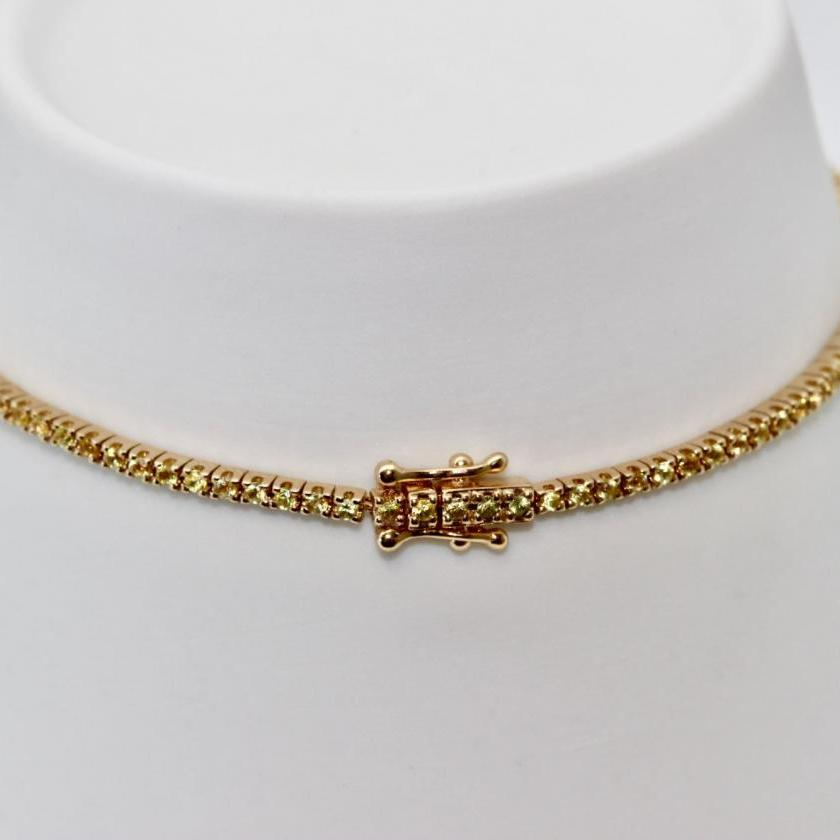 14ct Yellow Gold Sapphire Tennis Bracelet