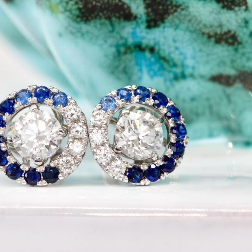 18ct White Gold Blue Sapphire and Diamond Ombre Halos