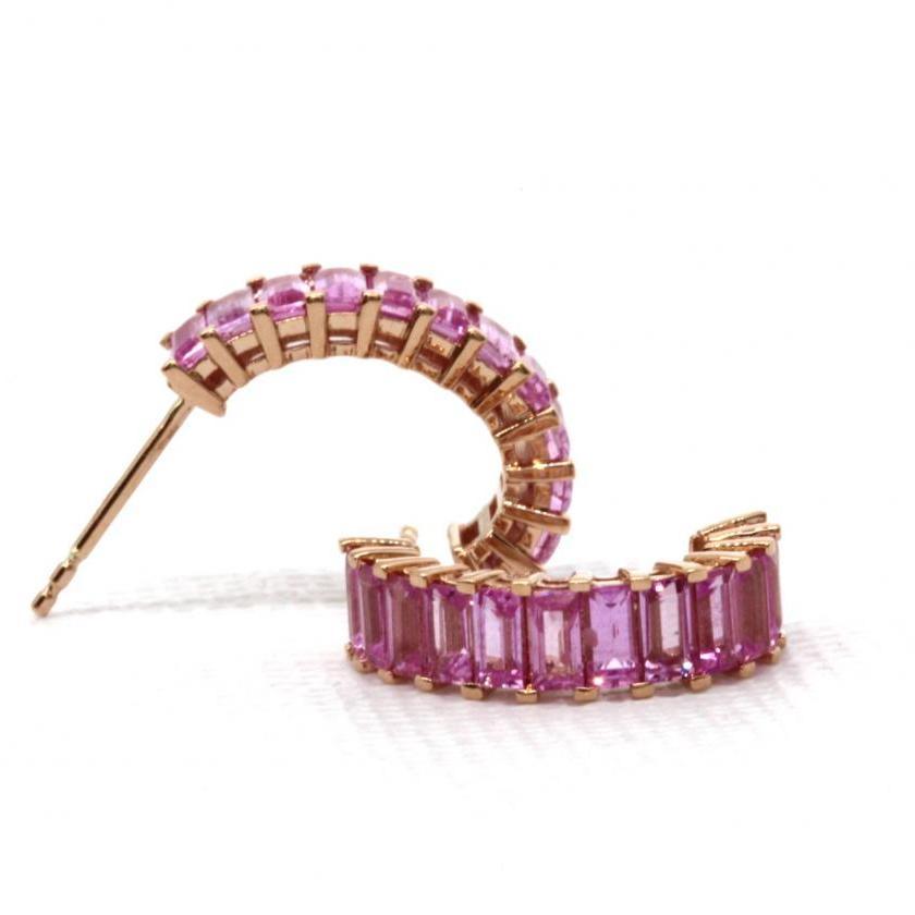 18ct Rose Gold Pink Sapphire Half Hoop Earrings