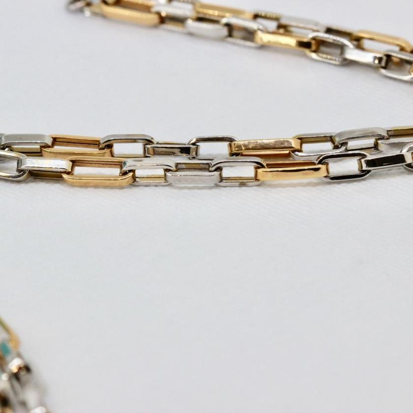 18ct White and Rose Gold Oval Belcher Chain