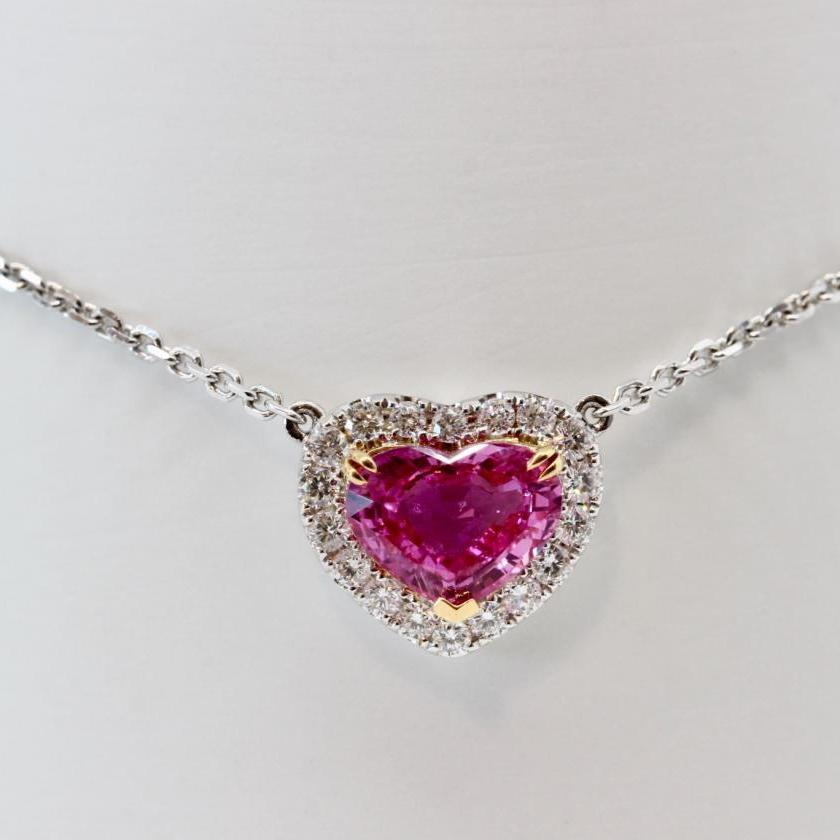 18ct White and Rose Gold Sapphire and Diamond Necklet