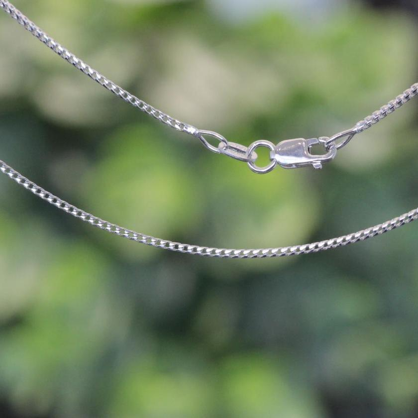 18ct White Gold Square Wheat Link Chain