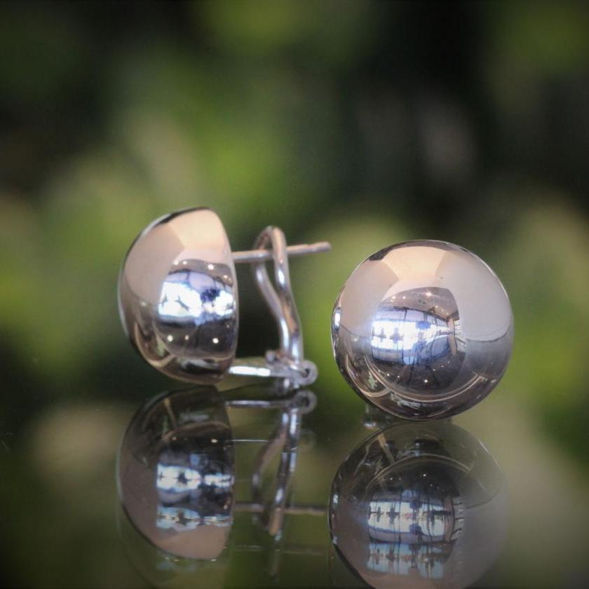 18ct White Gold Half Dome Earrings