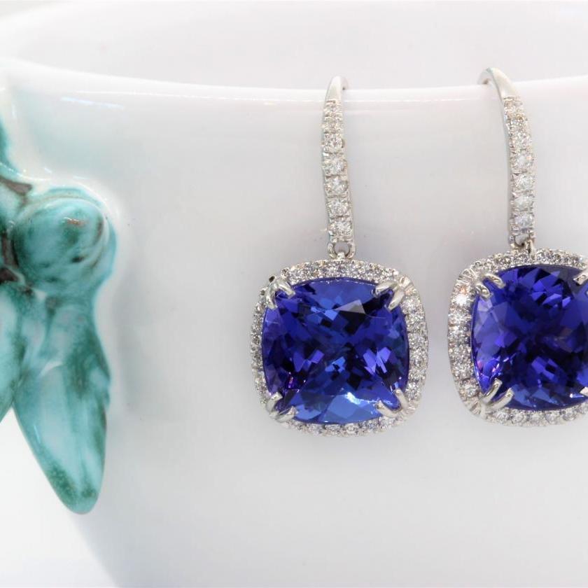 18ct White Gold Tanzanite and Diamond Halo Drop Earrings