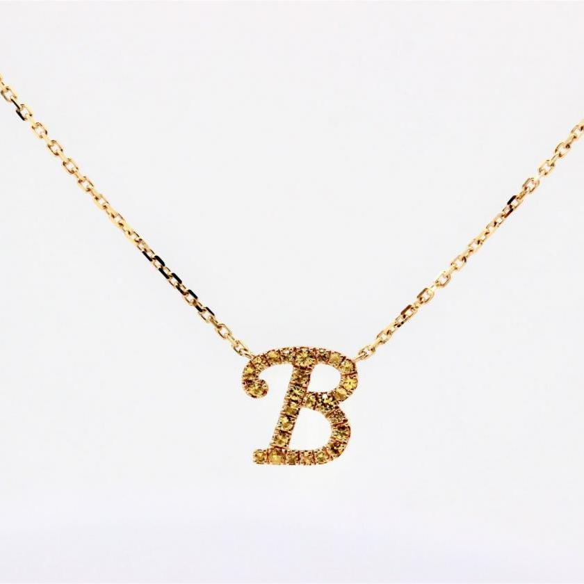 14ct Yellow Gold Initial B Pendant