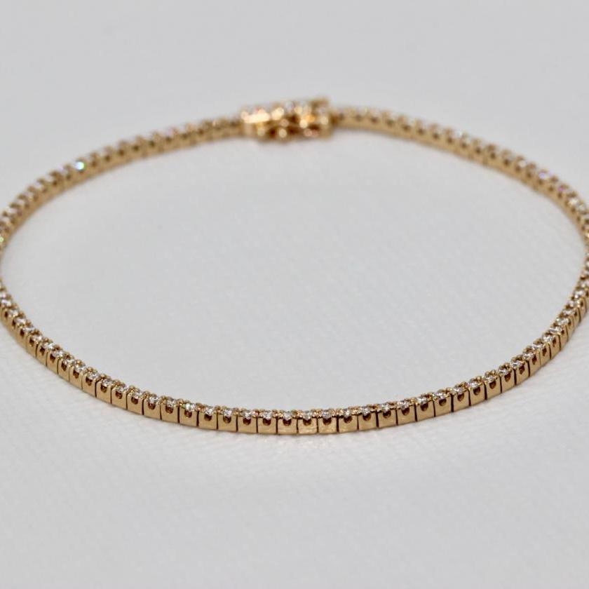 14ct Yellow Gold Diamond Tennis Bracelet