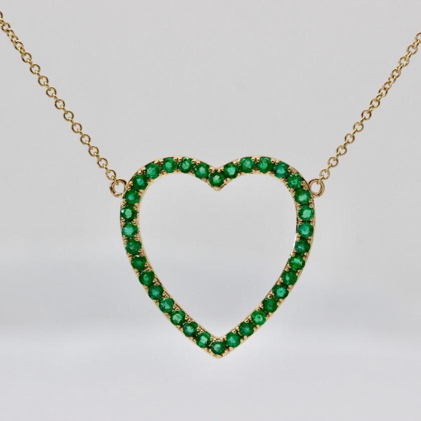 14ct Yellow Gold Emerald Heart Pendant