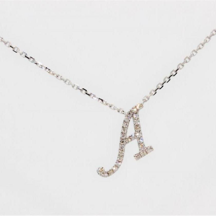 14ct White Gold Initial A Pendant