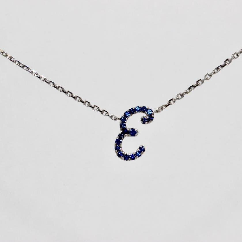 14ct White Gold Initial E Pendant