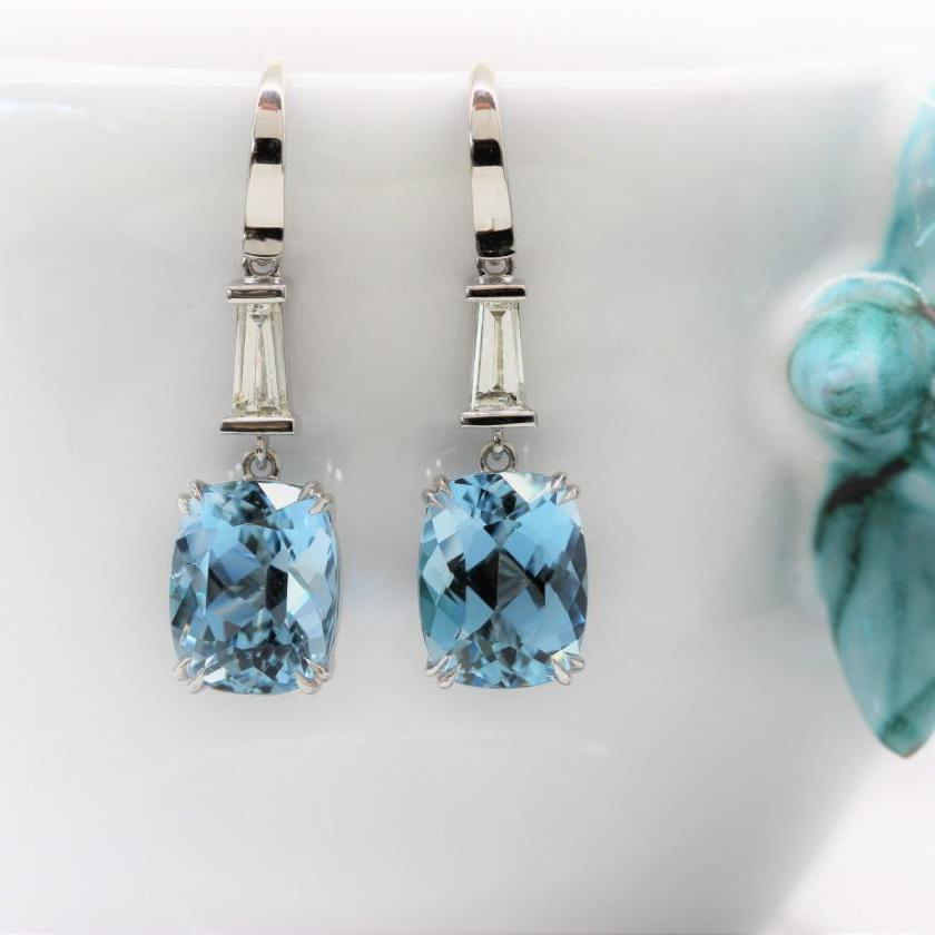 18ct White Gold Aquamarine and Diamond Drop Earrings