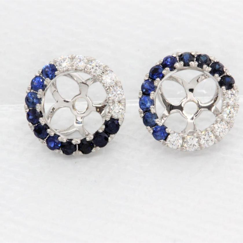 18ct White Gold Diamond and Blue Sapphire Ombre Halos