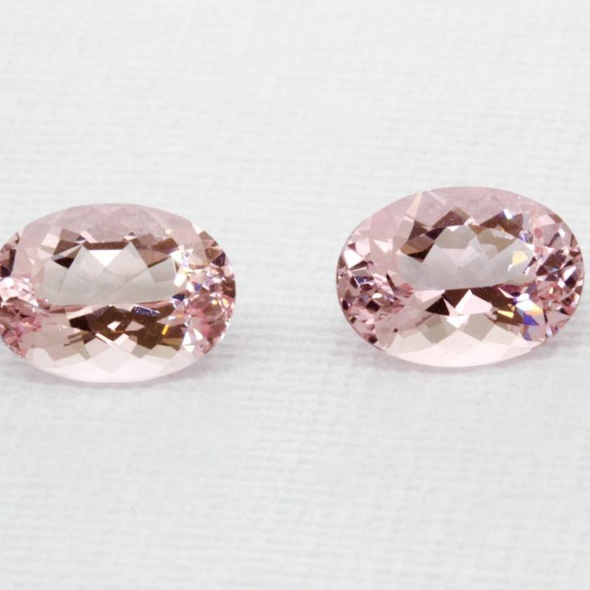 A Pair of Oval Cut Pink Morganites