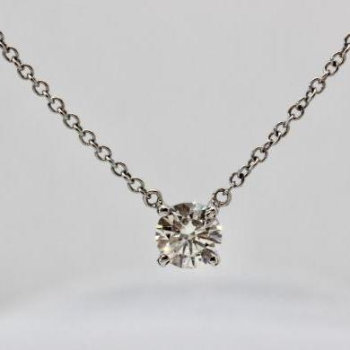 18ct White Gold Diamond Solitaire Necklet
