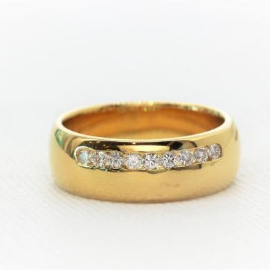 18ct Yellow Gold Diamond Set Gents Wedder