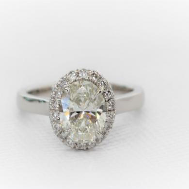 Platinum Oval Diamond Halo Ring