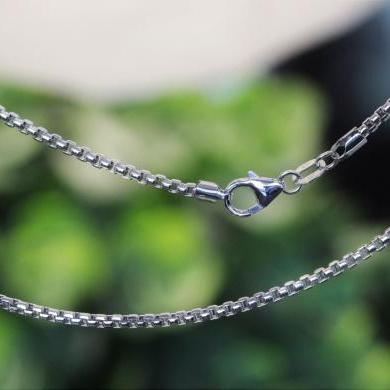 18ct White Gold Box Link Diamond Cut Chain