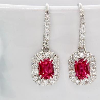 18ct White Gold Red Spinel and Diamond Earrings