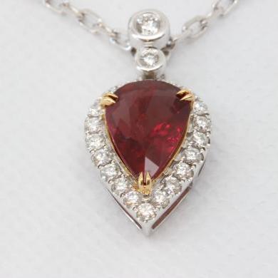 18ct White Gold Ruby Diamond Pendant
