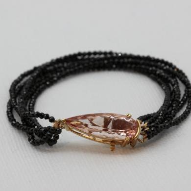 18ct Rose Gold Morganite and Spinel Bracelet