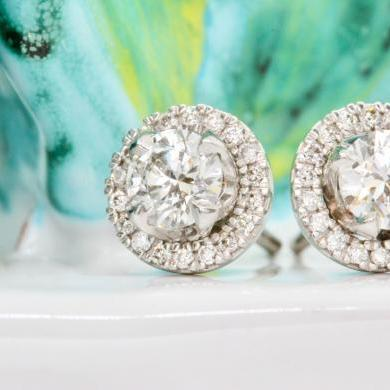 18ct White Gold Diamond Studs With Removable Halos