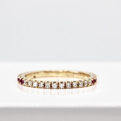 14ct Yellow Gold Multi Sapphire & Diamond Ombre Ring