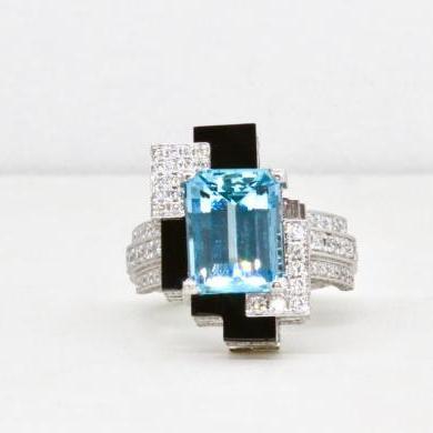 Platinum Aquamarine, Diamond & Onyx Ring