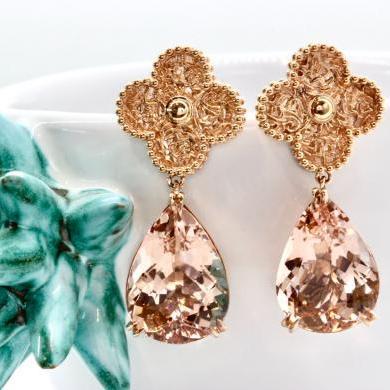 18ct Rose Gold Morganite Drop Earrings