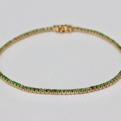 14ct Yellow Gold Emerald Tennis Bracelet