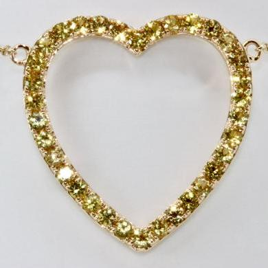 14ct Yellow Gold Sapphire Heart Necklet