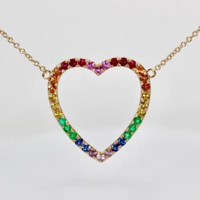 14ct Yellow Gold Rainbow Heart Pendant