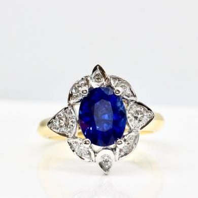 18ct Yellow and White Gold Ceylon Sapphire and Diamond Ring
