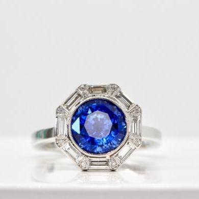 18ct White Gold Ceylon Sapphire and Diamond Ring