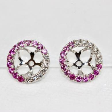 18ct White Gold Pink Sapphire and Diamond Ombre Halos