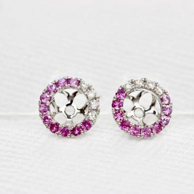 18ct White Gold Pink Ombre Halos