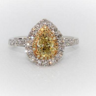 18ct White Gold Yellow and White Diamond Ring
