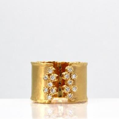 14ct Yellow Gold Diamond Cuff Ring