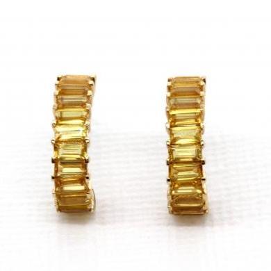 18ct Yellow Gold Yellow Sapphire Half Hoop Earrings