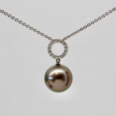 18ct White Gold Tahitian Pearl and Diamond Pendant