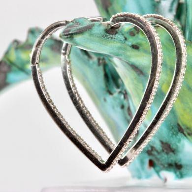 18ct White Gold Diamond Heart Hoop Earrings